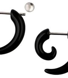 Black Silver Black Surgical Stainless Steel Pair Stud Earring for Men