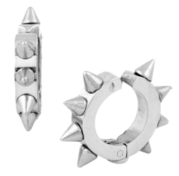 Rhodium Plated Silver Surgical Stainless Steel Pair Stud Earring for Men
