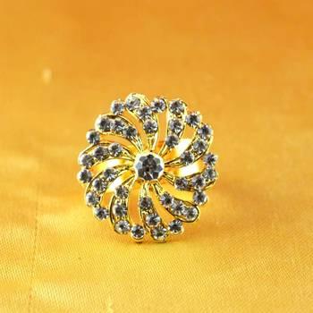 ring  with adjustable gold platted stone meenakari cz ad moti pearl polki kundun