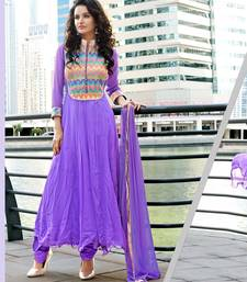 Buy VIOLET EMBROIDERED GEORGETTE SEMI-STITCHED ANARKALI SUIT anarkali-salwar-kameez online
