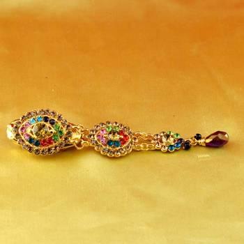brooch saripin gold platted stone meenakari cz ad moti pearl polki kundun