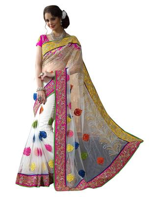 Multi Embroidered Net Saree