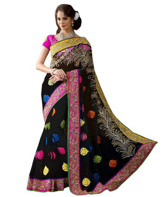 Black Embroidered Net Saree