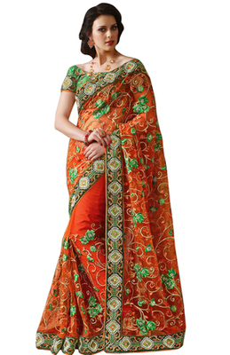 Green Embroidered Net Saree