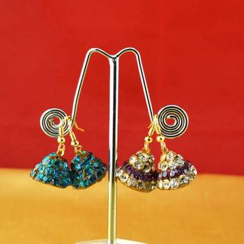 handmade rajasthani lakh multi colour stone earing
