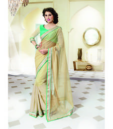 Buy Beige embroidered net saree with blouse jute-saree online