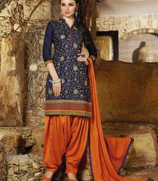 Blue embroidered cotton and cambric unstitched patiala salwar suit