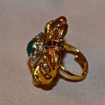 Antique Gold Ring in  Green
