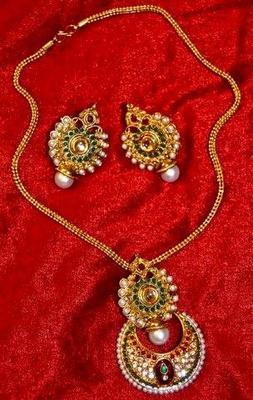 Rajwadi Style antique Pendant Set with Coloured stones