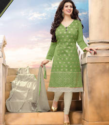 Buy Light Green Embroidered Chanderi unstitched salwar with dupatta indian-dress online