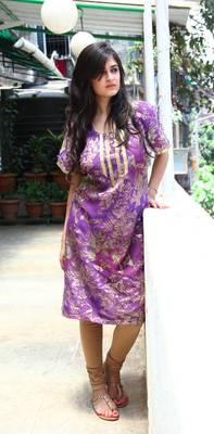 Purple with Gold Print Kurti