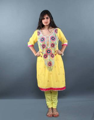 Floral Embroidered Yellow Churidaar Kameez