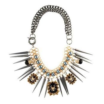 Spikes spider necklace