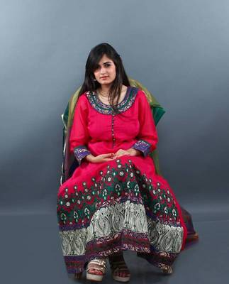 Pink Heavy Daman Embroidered Anarkali Dress