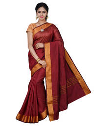 Buy Maroon plain cotton_silk saree with blouse below-500 online
