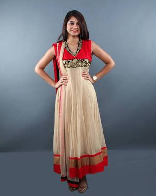 Red Cream Anarkali Salwar Kameez