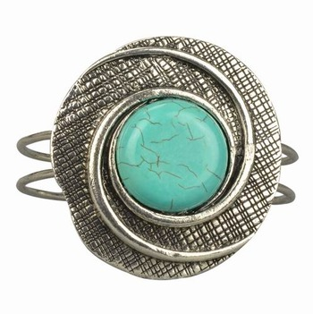 Faux turquoise hand-cut cuff