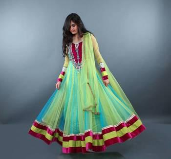 Lime Green Magenta Anarkali Dress