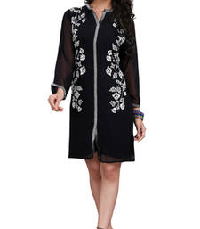 Buy Black Embroidered Chiffon kurtas-and-kurtis chiffon-kurti online