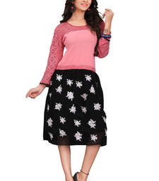 Buy Black and Pink Embroidered Chiffon and Net kurtas-and-kurtis chiffon-kurti online
