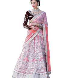 Buy Peach embroidered net unstitched bridal-lehengas bridal-lehenga online