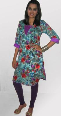 Multi-Coloured Rose Print Kurti