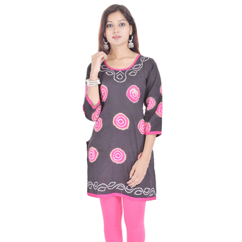 Gray Cotton Bandhej Design Kurti