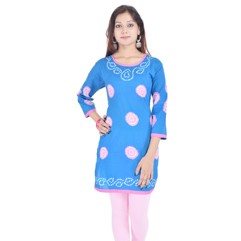 Blue Cotton Bandhej Design Kurti