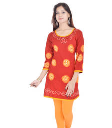 Red Cotton Bandhej Design Kurti