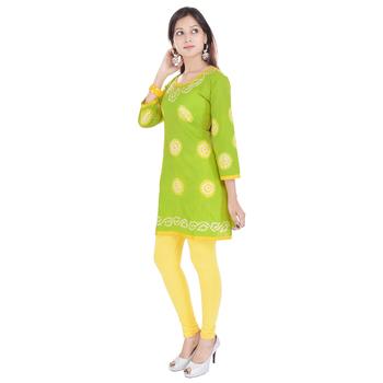 Green Cotton Bandhej Design Kurti