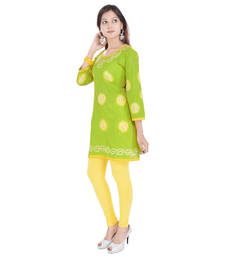 Green Cotton Bandhej Design Kurti