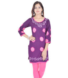 Purple Cotton Bandhej Design Kurti