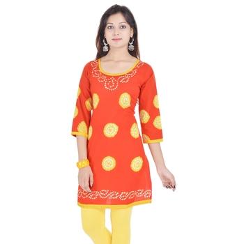 Orange Cotton Bandhej Design Kurti