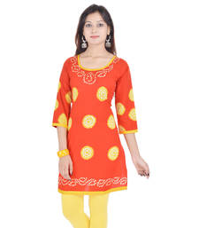 Orange Cotton Bandhej Design Kurti