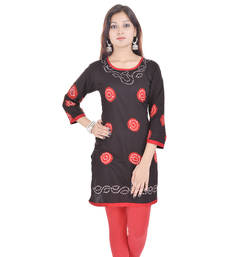 Black Cotton Bandhej Design Kurti