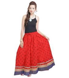 Buy Sunshine Rajasthani Ethnic Red Cotton Long Skirt navratri-skirt online