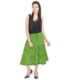 Buy Sunshine Sanganeri Floral Green Short Skirt cotton-lehenga online