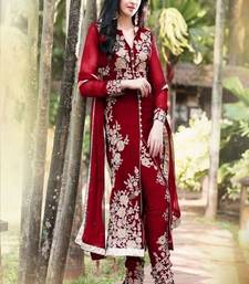 Buy maroon embroidered georgette semi stitched salwar with dupatta collar-neck-design online