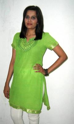 Green Resham & Mirror Work Kurti