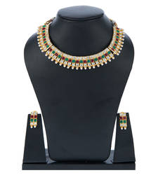 Buy Maroon Green Square Kundan Choker Set with Pearls necklace-set online