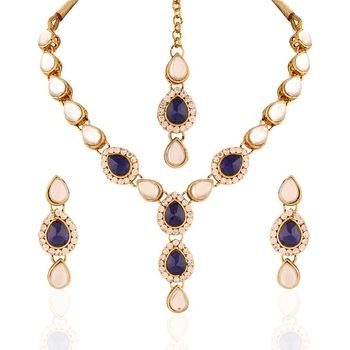 Alluring Gold plated Australian Diamond Stone  Necklace Set