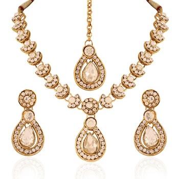 Glimmery Gold Plated Australian Diamond Stone  Necklace Set