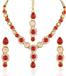 Buy Stylish Gold plated Australian Diamond Stone  Necklace Set necklace-set online