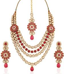 Splendid Gold plated Australian Diamond Stone  Necklace Set