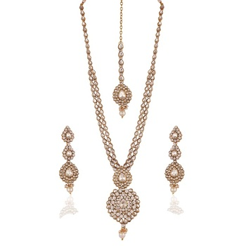 Classy Gold Plated Australian Diamond Stone  Necklace Set