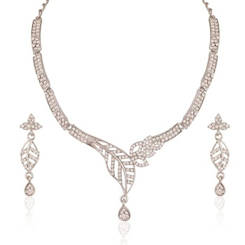 Marvellous Rhodium Plated Australian Diamond Stone  Necklace Set