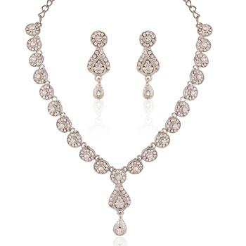 Eye Catchy Rhodium Plated Australian Diamond Stone  Necklace Set