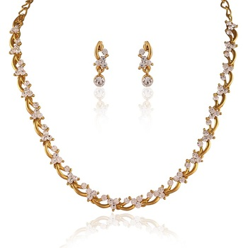 Classy Gold Plated Australian Diamond Stone  Necklace Set