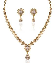 Buy Dazzling Gold plated Australian Diamond Stone  Necklace Set necklace-set online