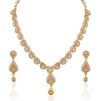 Gleaming Gold Plated Australian Diamond Stone  Necklace Set